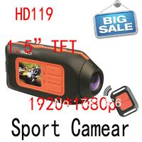 wholesale Free shipping HD119 NOVATEK 1080P DVR Helmet camcorder Action camera Bike Motorcycle DVR For Sports drop shippingT1000