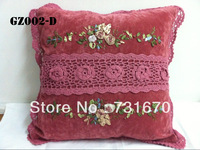 "Handmade pink elegant design cross stripe crochet lace upmarket home textiles suede fabric cushion cover 43*43""GZ002-D"
