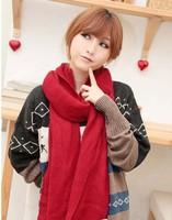 2014 New Fashion Korean Winter Women Warm Knit wool Scarf scarves Long solid wild bevel Distinctive Shawl Free shipping
