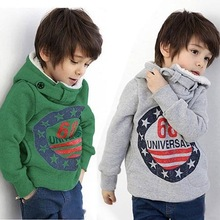 free shipping new 2014 2 color thick style 68 letter printing baby's hoodies children hoody kids clothes boys girls Sweatshirts(China (Mainland))