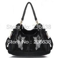 Free shipping - women fashion black leather messenger bag, European and American brands women leather handbags