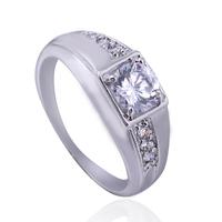 new arrival hotsale shining AAA  zircon platinum plated men finger ring free shipping yilia jewelry