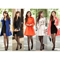 Free Shipping Hot 2013 Fashion Women Slim Fit Trench Double Breasted Coat Outwear  5 Color 6 Size
