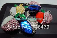 Wholesale/ Free Shipping,Jewelry Heart Shape USB Pen Drive,Crystal Heart USB Memory Disk,Swarovski Crystal USB Disk 8G/16G/32G