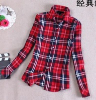 2014 spring and summer Woman plaid shirt \ cotton plaid shirt \ thickening Slim lapel long-sleeved plaid shirt free shipping
