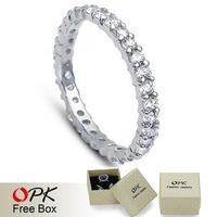 OPK JEWELRY Designer Sweet Platinum Plated Wedding Ring Channel-setting CZ diamond Ring Elegant Vogue Jewelry for women, 935