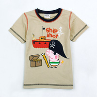 Kids wear clothing 2014 fashionthe George peppa pig pirate t-shirts with Ship Ahoy children t shirt