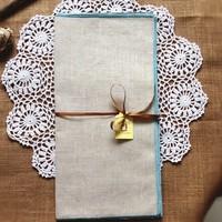 "12pcs/lot  Natural PolyLinen Aqua Embroidery Border  Napkins  43x43cm(17X17"") Free Shipping"