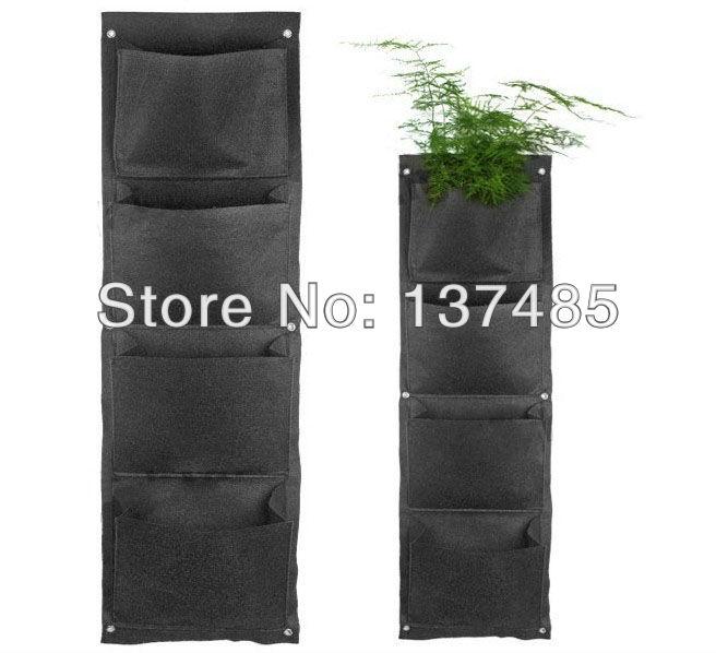 New 4pcs/lot Living Wall Planter, Woolly, Vertical Gardening, Pot, Hanging, Mounted, Modular Planting bag 4-Pocket 2mm(China (Mainland))