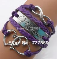 Infinity , One Direction Charm Bracelet--Antique Silver Bracelet--Wax Cords and Imitation Leather Bracelet