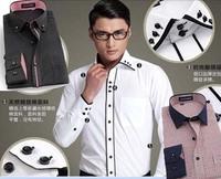 free shipping 2014 Fashion England  Quality Formal Businese Men Casual Dress Shirts Long sleeve Mens  Shirt  plue size 5XL