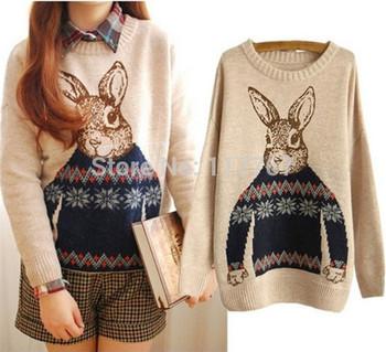 Женщины Трикотажные Кролик Животное печати Свободные пуловеры Свитера Sexy длинными рукавами и пиджаки осень зима 3 цвета Бесплатная доставка 653256