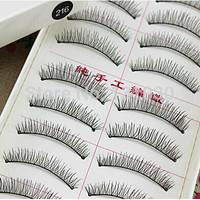 Free shipping 50 pairs false eyelashes hand made natural long fake eyelashes 5 boxes 10pairs/box 216# plastic cotton stalk