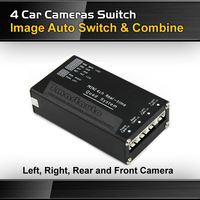 Car 4 Camera Switch and Combiner control box for left, right, front and rear backup parking camera system video control switch