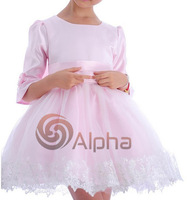 Retail Free Shipping Kids Long Sleeve Gauze Ball Gown Dress Half Sleeve Princess Party Dress Pink White Flower Girl Dress