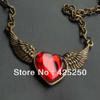 Min.order is $9 (mix order) Free Shipping! Fashion Jewelry Retro Angel Wings Peach Heart Sweater Chain Necklace Factory Direct