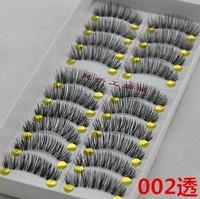 Free shipping 50 pairs winged false eyelashes hand made thick crisscross fake eyelashes 002# transparent plastic
