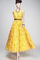 2014 Hot Sale Women's Fruit Flower Yellow Peaches Tank Dress with Belt Women Long Dress + Free Shipping