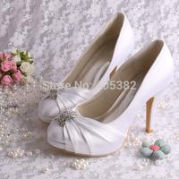 (14 Colors) Custom Handmade Platform Wedding Shoes White for Lady Closed Toe Satin Pumps Dropship