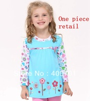 FREE SHIPPING H2762#Nova Kids wear girls fashion dress cotton long sleeve dress with flower embroidery and printing for bay girl