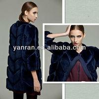 Chongfu, Tongxiang Made YR-549 Top Quality World Wide Fashionable Women Rex Rabbit Natural Fur Coat