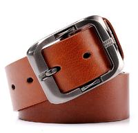Fashion Split Leather Cheap Metal Buckle Mens Strap Ceinture Big Size Belt Men's Genuine Leather belt free shipping