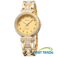 Free Shipping New Watches Luxury Rhinestone Watches For Lady Top Quality Women Hours Quartz Gold Wristwatch