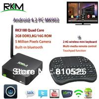 Rikomagic XBMC!!RKM MK902 Quad Core Android4.4 RK3188 2G DDR3 8G ROM Bluetooth Build in Camera & Microphone [MK902/8G+i8]