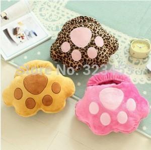 Cute cat paw prints Plush USB Foot Warmer Shoes Electric Heat Slipper pink/yellow/Coffee(China (Mainland))