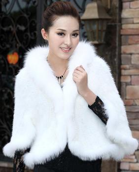 ( #m0103) женской связанный белый норки пальто рукавами битой с лисицы шалью вечернее платье свадьбы невеста мыс бесплатная доставка