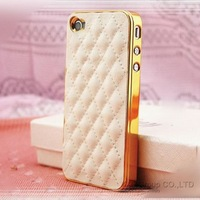 Luxury PU Leather Case for Apple iPhone 4 4S / 5 5S Soft Grid Pattern Back Skin Cover YXF ac259