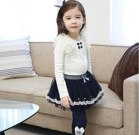 (100-140CM) 5pcs/lot 2014 new girl gauze skirt baby short skirts, autumn casual r mini skirts bow  design dark blue/ apricot