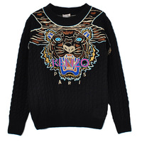Most popular Ken o tiger head sweater Winter long-sleeve woollen embroidery lovers sweater men pullover sweater high quality