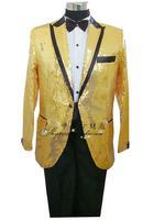 Yellow black paillette neckline formal dress suits loose clothes