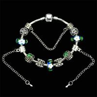 Express Shopping Fsetival,New Arrival Europe Beads Charm Bracelets For Women,With 3D Flower Murano Glass Beads,19CM,20CM,21CM