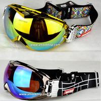 2014 new spherical ski goggles Winter anti-fog ultraviolet double lens snow skiing glasses Men Women christmas Snowboard googles