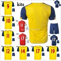 best quality 2015 ALEXIS OZIL S.CAZORLA away yellow home soccer jersey + shorts kits, WALCOTT PODOLSKI WILSHERE football uniform