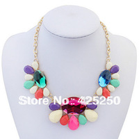 Min.order is $9 (mix order) Free Shipping! Bohemian Fashion Popular New Color Gem Necklace N2108