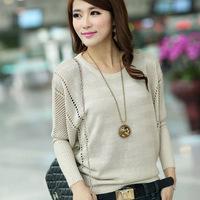 OVO!2014 brand new  Fashion women clothing hollow out loose big yards sweater bat sweater knit women sweater F.SZ.W.075