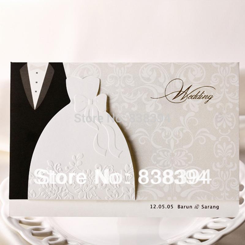 Hot 50 pcs blanc, amoureux- vêtements de style invitations de mariage cartes à personnaliser l'impression en gros livraison gratuite