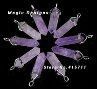 Soothing 20pcs Purple Amethyst Healing Crystal Point Pendant