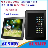 "New 2013 Tablet PC laptop 9.7"" inch Android 4.2.2 AllWinner A20 DUAL CORE processors HD 1024*768 1GB 16GB 3D Games 3G WIFI EBook"
