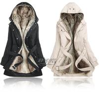 Hot Sale 2014 Faux Fur Lining Women's Winter Warm Long Fur Plus Size Women Coat Jacket Clothes Wholesale Desigual Free Shipping