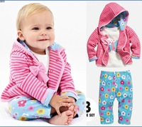 RETAIL Baby Girl's 3pcs suit set autumn clothing sets 100%cotton bow stripe hoody jacket + long sleeve shirts+ flower pants