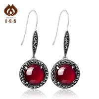 Red corundum  circusy mark race  925 silver pure silver thai silver jewelry  sterling silver brand accessories Drop Earrings