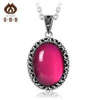 Thai silver thai silver pendant fashion handmade accessories 925 pure silver women's red corundum pendant 11