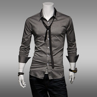 Spring and Summer Men's Mercerized Cotton Easy Care Casual Slim Long Sleeved Lapel Collar Shirts with Tie