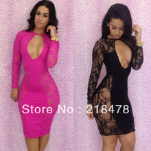 Free shipping Lace Floral designs Dresses New fashion 2013 bandage dress black bodycon dress sexy women dresses S,M ,L(China (Mainland))
