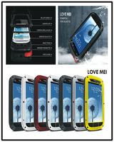 Original Shockproof Waterproof Luxury Love Mei Metal Case For Galaxy S3 i9300 S4 i9500 + Gorilla Glass Free Shipping