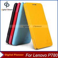 Screen Protector As Gift! Luxury Original Nillkin Flip Leather Cover Case For Lenovo P780 Case,Black/Yellow/Red/Blue